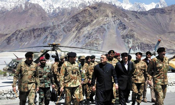 Former President Asif Ali Zardari condoles with martyr soldiers' families